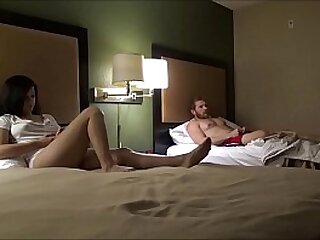 Kin And Little Sister Spend Hammer away Night around a Hotel Room